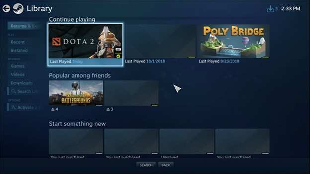 Một số tựa game trong Steam Link