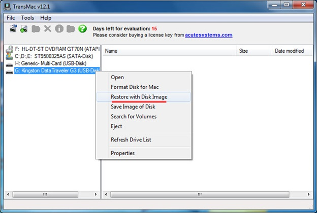 Chọn Restore with Disk Image