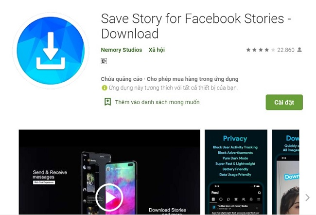 Tải ứng dụng Save Story for Facebook Stories