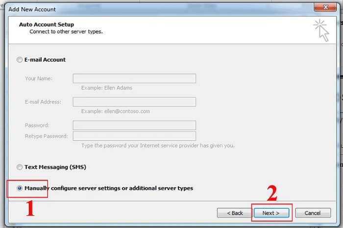 Chọn Manually configure server settings or additional server types > Next