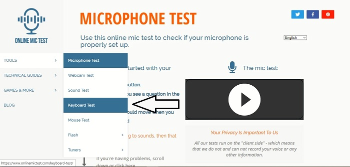 Giao diện của Online Mic Test