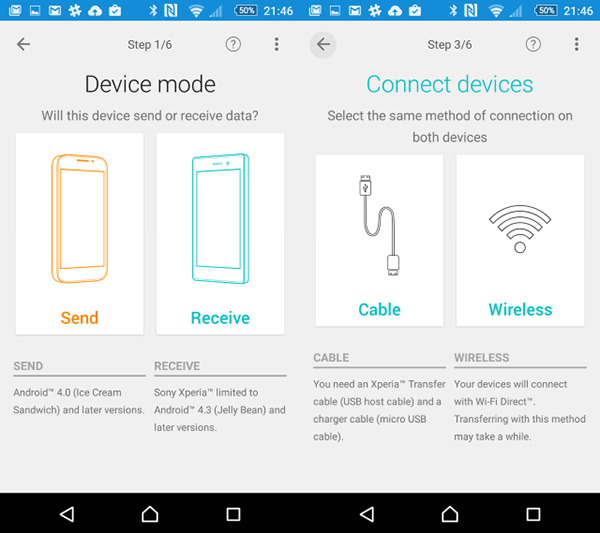 Chuyển tin nhắn từ Android sang Android bằng Xperia Transfer Mobile